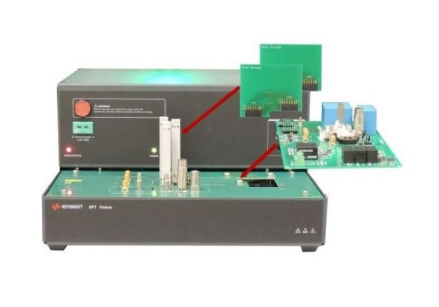 The Customized GaN test board attaches to the PD1500A DPT fixture. Image courtesy of Keysight