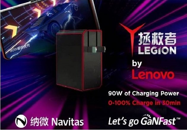 The New 90W GaNFast charger for Legion e-sports. Image used courtesy of Navitas Semiconductor