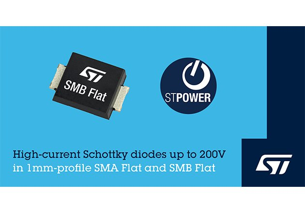 Low-Profile Surface-Mount Schottky Diodes from STMicroelectronics Boost Power Density and Efficiency Figure