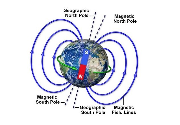 Figure 1. The north pole of a magnet is the pole that points to the magnetic north pole of the Earth. Image courtesy of MagLab.org