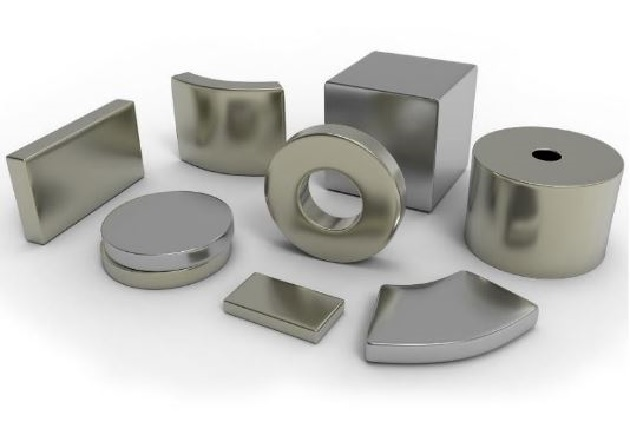 Figure 2. Common manufactured magnet shapes include a bar, horseshoe, and ring magnets. Image courtesy of Arnold Magnetic Technologies