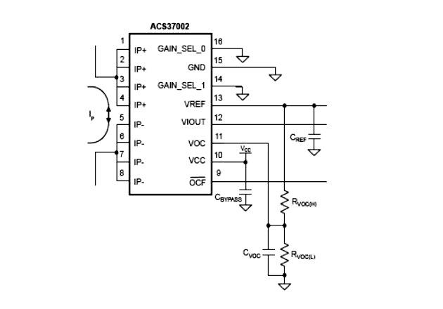 Figure 3: Circuit diagram for ACS37002 Implementation