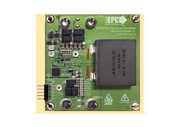 The development board, EPC9153 is a rated 250W device that has a 20V output with a 5V gate driver that accepts low-power input to drive high-current. Image used courtesy of EPC.