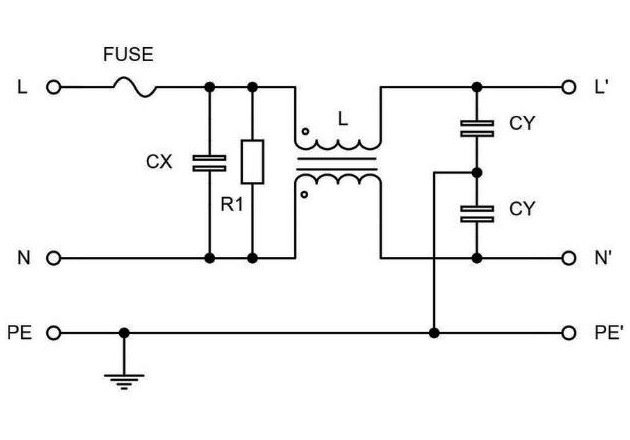 Figure 1: Typical modular EMI filter circuit