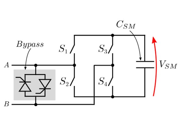 Full-bridge sub-module schematic including the bypass switch