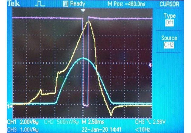 Voltage drop at the tested device at the moment of destruction of the semiconductor structure.