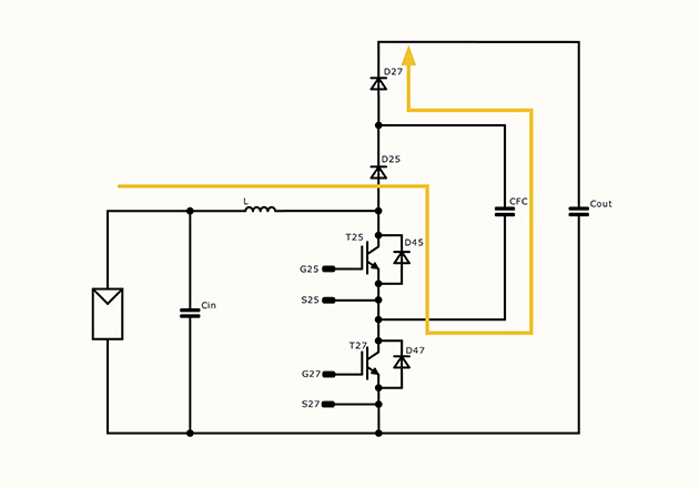 Operation modes of a flying-capacitor booster