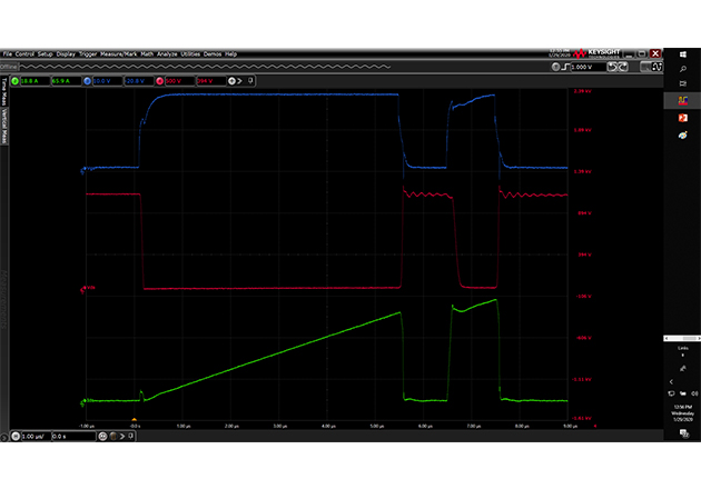 Double-Pulse Test Waveforms (SiC MOSFET, 1200V, 40A).