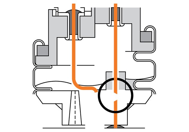 In the event of an overload the groove expands and the notched point of the connection wire tears.