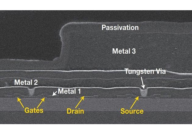 SEM micrograph of an eGaN FET circa 2009 [3.]