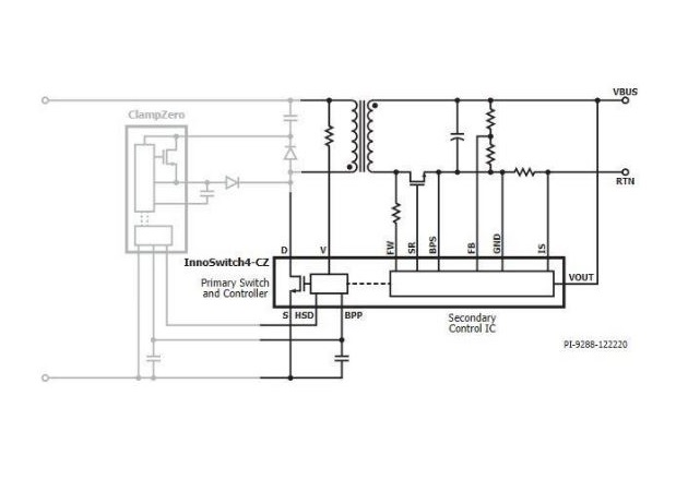 Typical application. Image courtesy of InnoSwitch4-CZ family datasheet