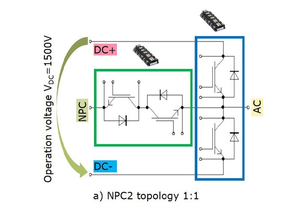 NPC2 topology with two PrimePACK™ 3+ power modules 1:1 (1 half–bridge + 1 common collector)
