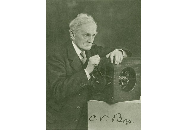 Charles V. Boys with his camera developed specifically to take pictures of lightning.