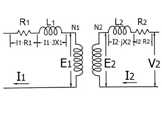 Figure 7. Transformer equivalent circuit, with load