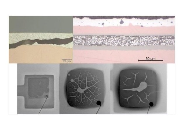 Figure 1: Modes of failure of silver sintered interconnects, via pressure-less sintering. Top left: crack through the layer, with delamination of the substrate.; Top right: High porosity of sintered silver layer.; Bottom: Drying channels, large voids, delamination