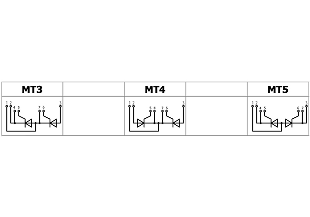 Thyristor module, from left to right: serial connection, common cathode, common anode.