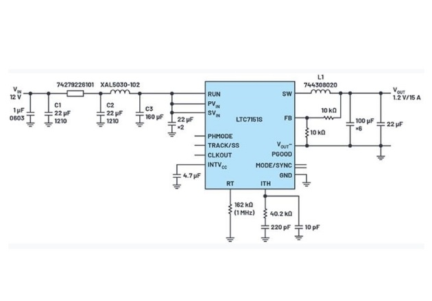 Figure 4: Schematic of a 1.2 V regulator with 1 MHz switching frequency.