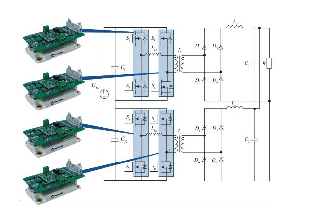 Figure 8: Proposed phase-shifted full bridge implementation of the Microchip ASDAK+ in the DC-DC section of a transportation APU [4]