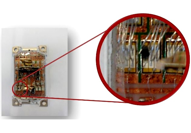 Figure 8: Post-failure analysis on a commercial SiC MOSFET module after a short circuit test, showing a burnt spot on a chip.