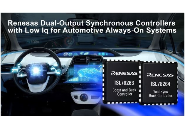 Renesas Introduces Two Dual-Output Synchronous Controllers for Automotive Always-On Systems