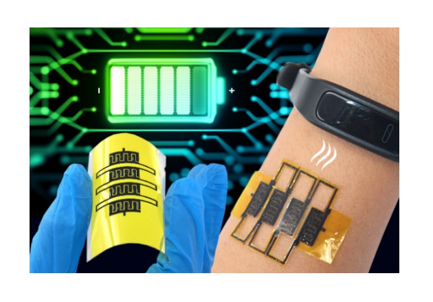 Researchers develop technology that could potentially power wearable and stretchable health devices. Image used courtesy of Penn State University.