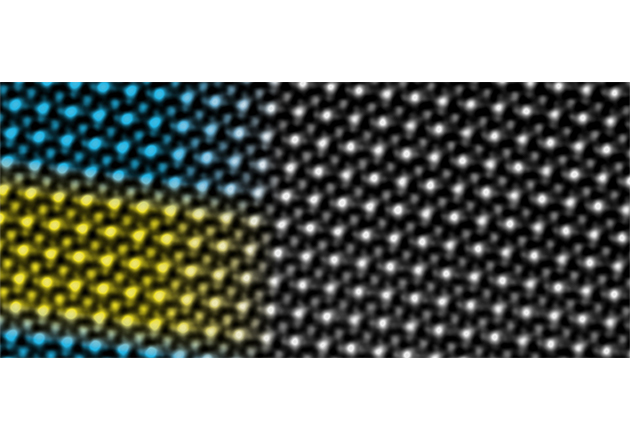 Scanning transmission electron microscopy image of superlattice consisting of an alternating sequence of 5 atomic unit cells of neodymium nickelate (blue) and 5 atomic unit cells of samarium nickelate (yellow). © Bernard Mundet / EPFL.