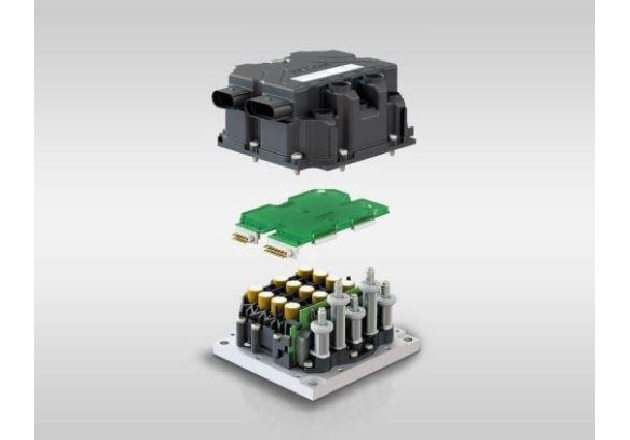 Top to bottom: housing, controller and inverter. Image courtesy of SEMIKRON