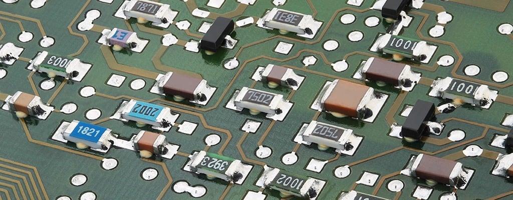 SMD resistors on a printed circuit board