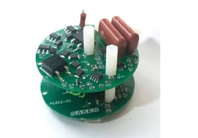 Figure 4: 2.5kV to 5V non-isolated switched power supply prototype, external inductor not shown. Input current is kept in the low mA range