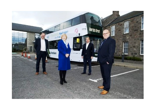 Wrightbus unveils its hydrogen-powered double-decker bus in Aberdeen. Image used courtesy of Wrightbus