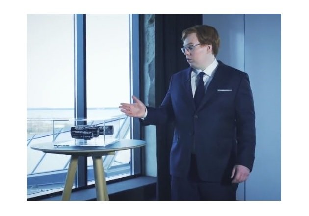 Co-Founder and CEO of Skelton, Taavi Madiberk with SkelCap industrial ultracapacitor cells. Image courtesy of Skeleton Technologies