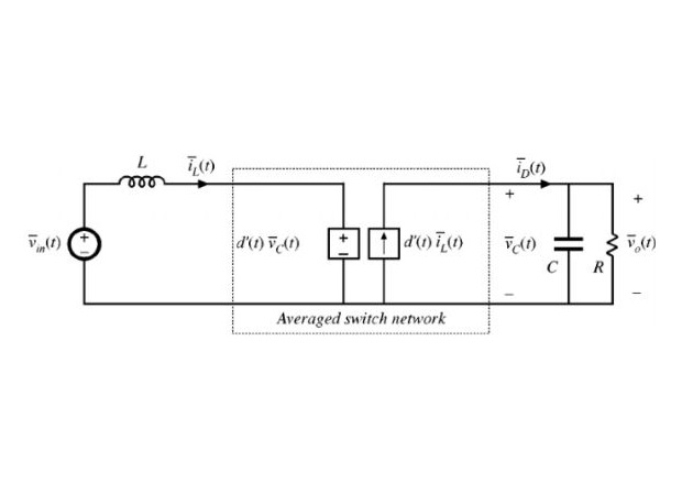 Figure 2: Nonlinear averaged circuit model of the boost converter [4]