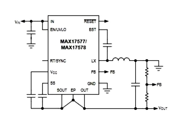 Simplified application circuit for the MAX17577 and MAX17578. Image courtesy of combined datasheet