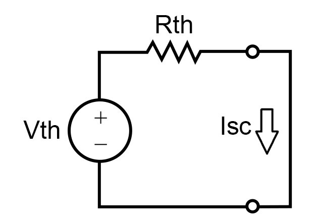 Thevenin's equivalent circuit with load replaced by a short circuit