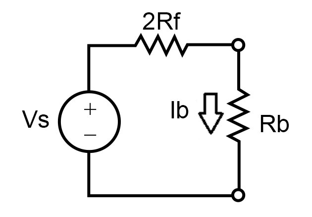 Thevenin's equivalent circuit for step voltage