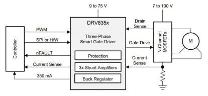 BLDC Moteur Pilote dérivation 8v-30v drv8313: Triple Half-H Bridge Driver 2.5 A,