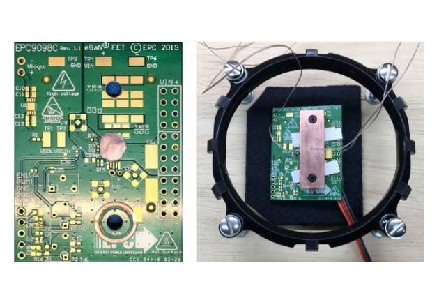 Figure 5: Experimental PCB of the thermal case study showing the application of the TIM (left) and with the heat-spreader attached (right)