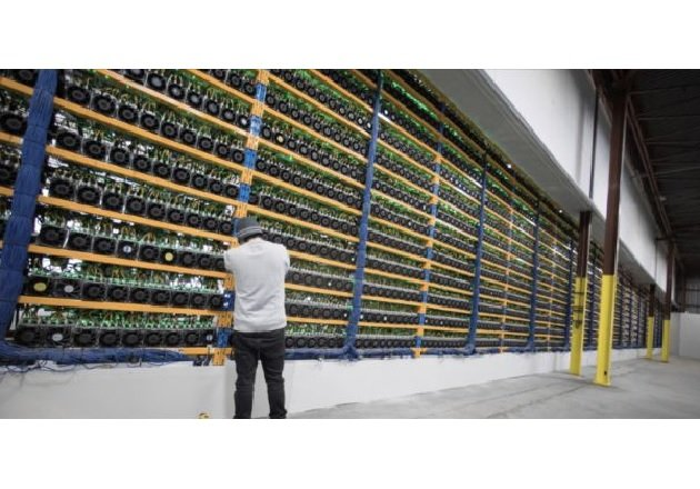 An unnamed facility with crypto currency mining rigs. Image used courtesy of Transphorm.