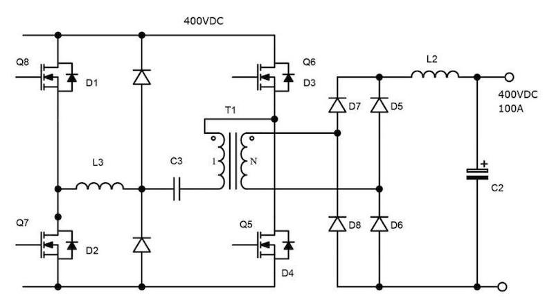 Figure 3: replacing 4x SiC diodes D5 – D8 with 4x SiC FETs, more than halves dissipation and enables bi-directional power conversion
