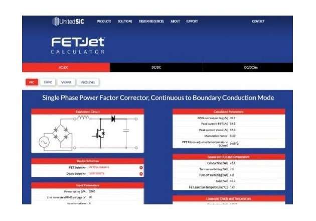 The UnitedSiC FET-Jet Calculator. Image used courtesy of UnitedSiC