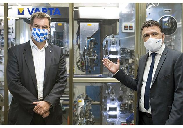 Dr. Markus Söder and CEO of VARTA, Herbert Schein at the Nördlingen plant