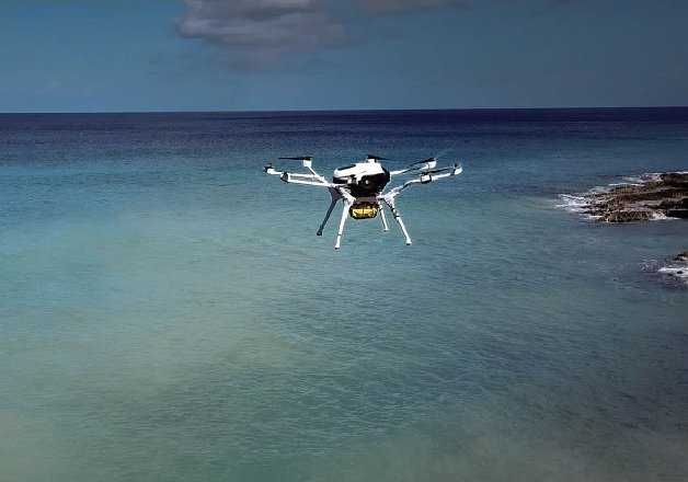 A DMI drone delivering emergency medical supplies to the Virgin Islands. Image used courtesy of DMI.