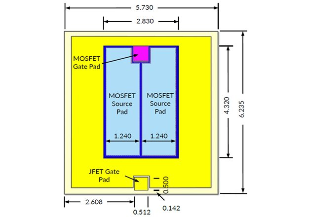 Dimensions of the 8.6m, 1200V SiC FET. The device in yellow is the SiC JFET, and the LV MOSFET in blue stacked on it. The devices are rated at 175C for continuous operation but the on-state and blocking characteristics of this device show that operation at 200C is possible to handle overstress conditions safely without thermal runaway