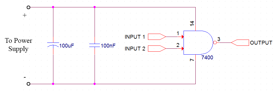 coupling and decoupling capacitor circuit