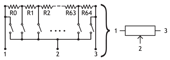 Diagram showing the functioning of a digital resistor with resistor ladder