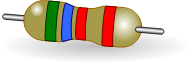 5.6kOhm four band resistor with a color code and 2% tolerance