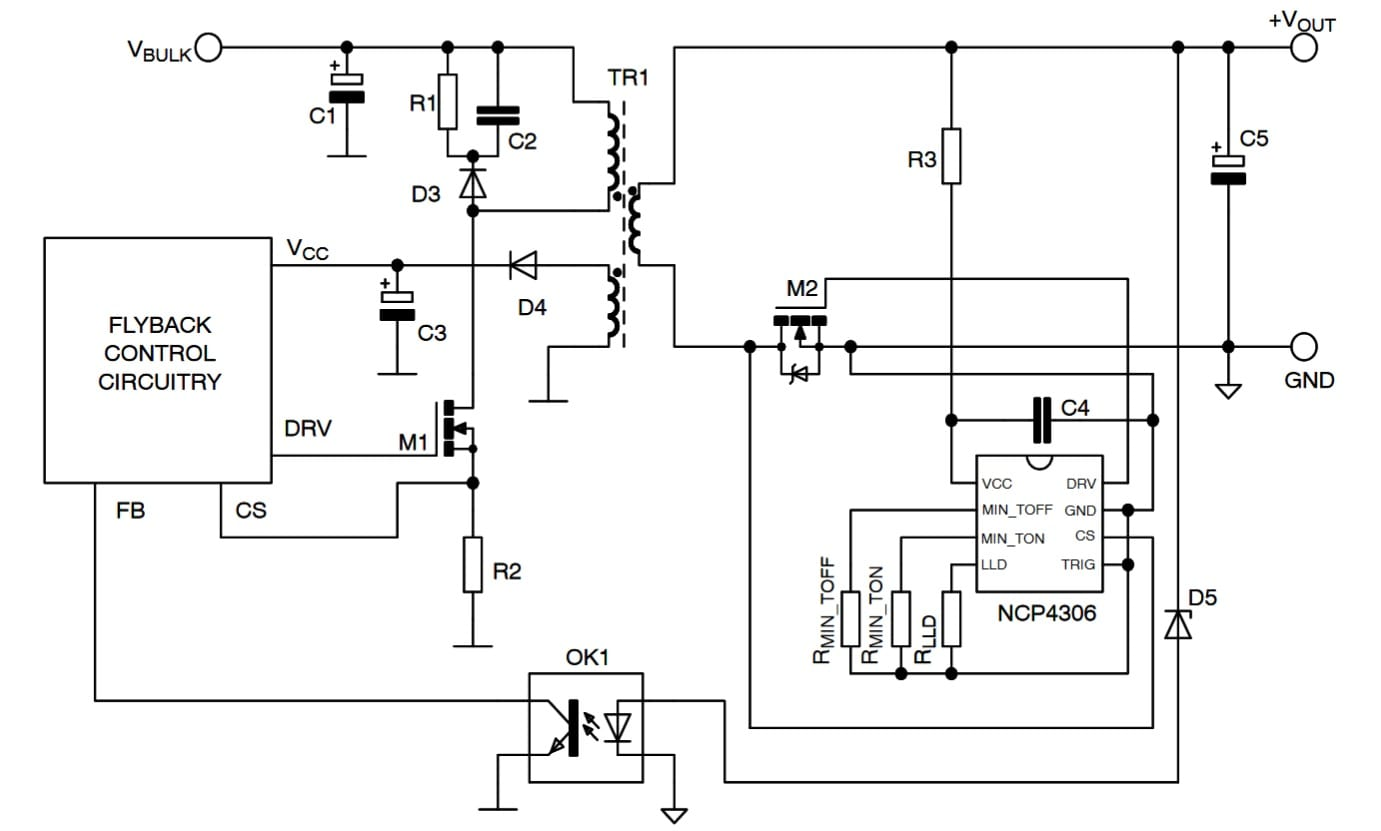 Secondary Side Synchronous Rectification Driver For High Efficiency Smps Mosfet Circuit Examples Typical Application Example Dcm Ccm Or Qr Flyback Converter With Optional Lld And Disabled Trig Click On Schematic To Enlarge