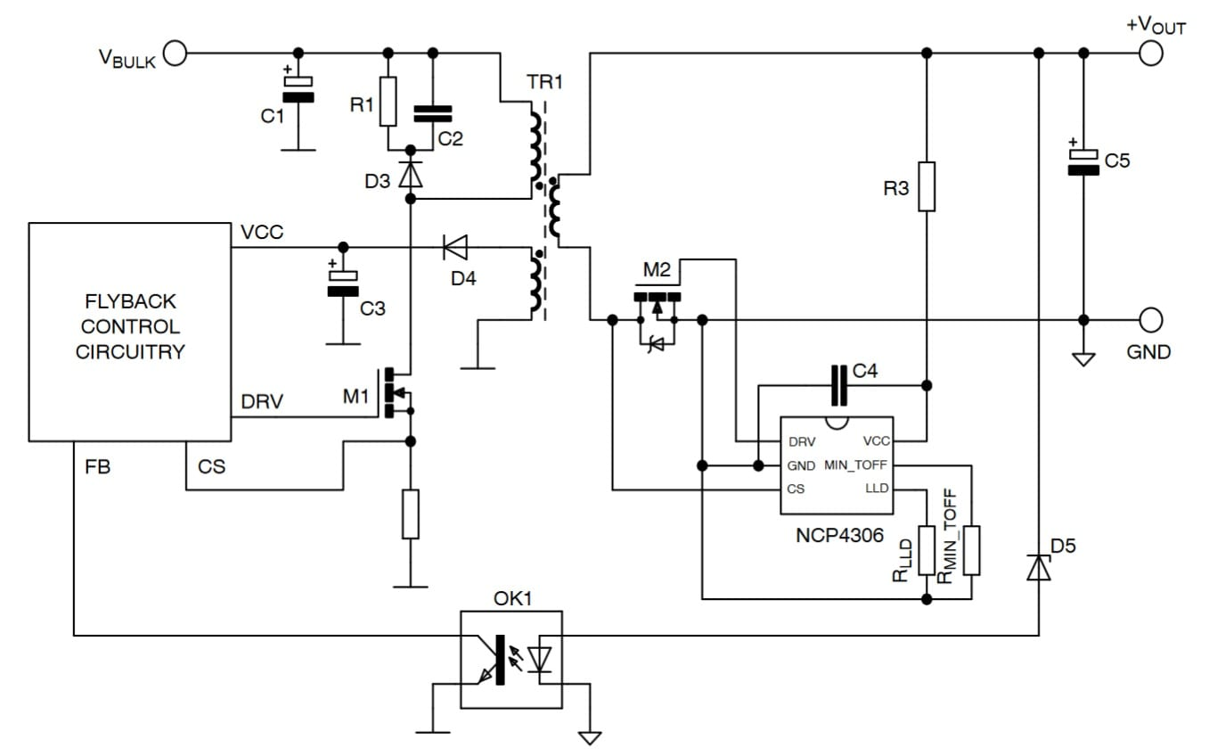 Secondary Side Synchronous Rectification Driver For High Efficiency Smps Circuit Diagram Using Mosfet Typical Application Example Dcm Ccm Or Qr Flyback Converter With Ncp4306 In Tsop Click On Schematic To Enlarge