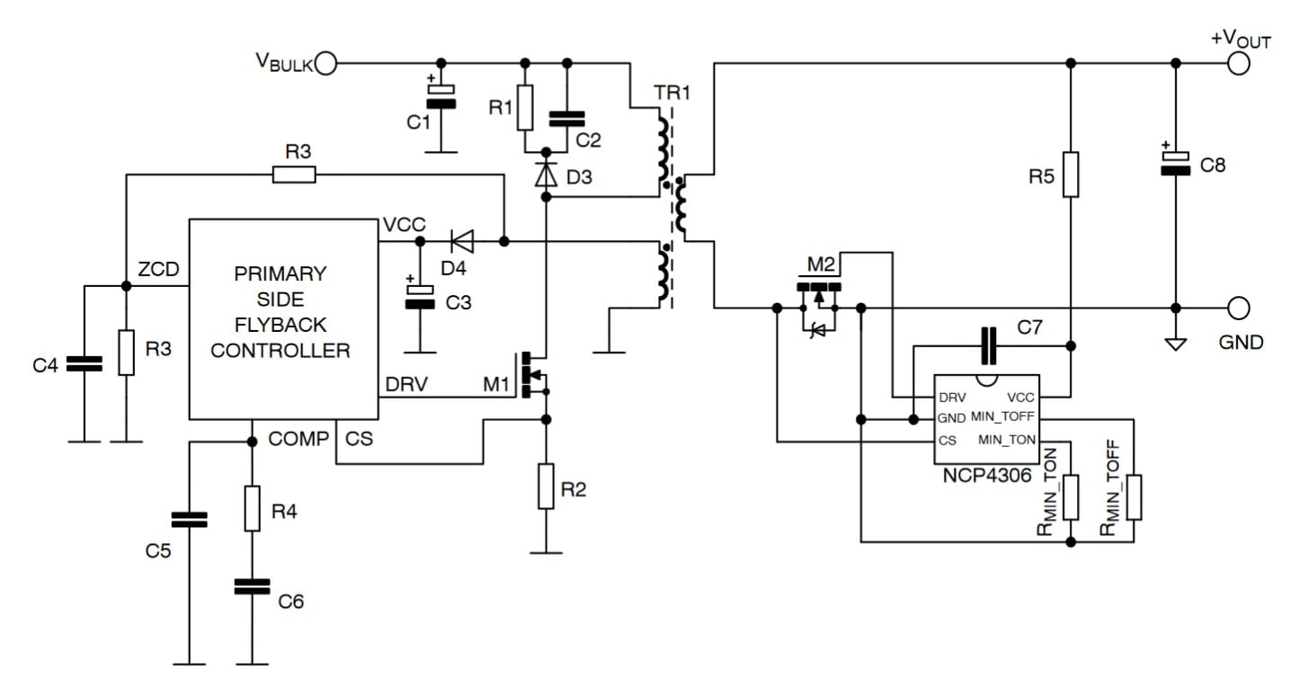 Secondary Side Synchronous Rectification Driver For High Efficiency Smps Circuit Diagram Using Mosfet Typical Application Example Primary Flyback Converter And Ncp4306 In Tsop Click On Schematic To Enlarge