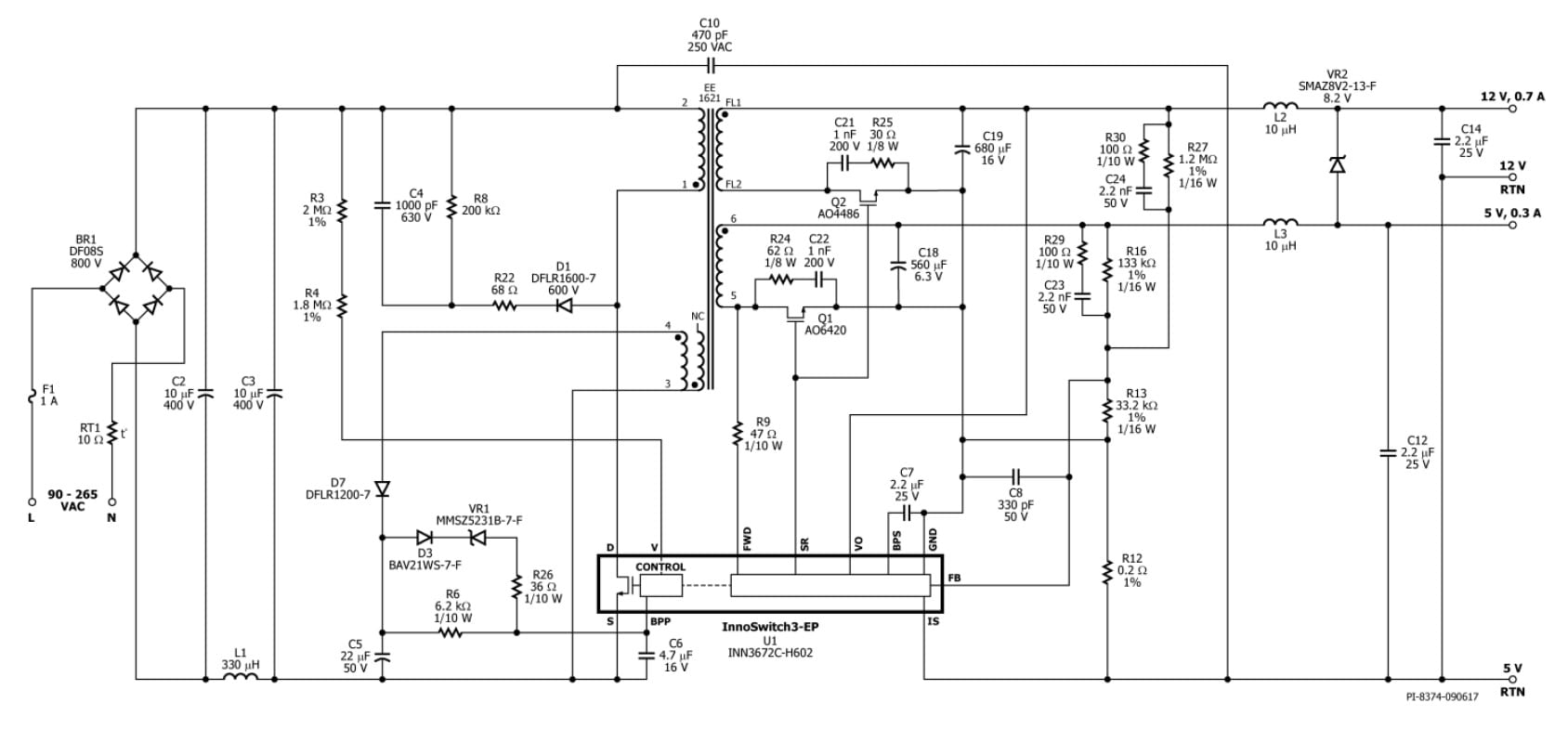 Reference Design For A 10w Dual Output 5v 12v Ac Dc Flyback Regulated Power Supply With Overvoltage Protection Schematic Rdr 611 Click On To Enlarge